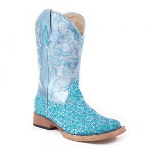 Roper Kids Square Toe Western Boot - Turquoise Glitter Bling