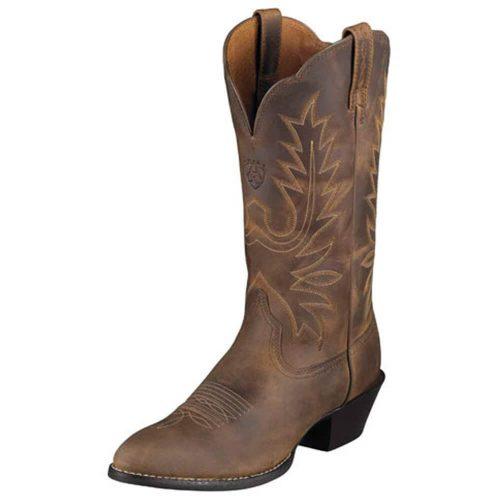 Women's Ariat Heritage R Toe Cowboy Western Boot Distressed Brown