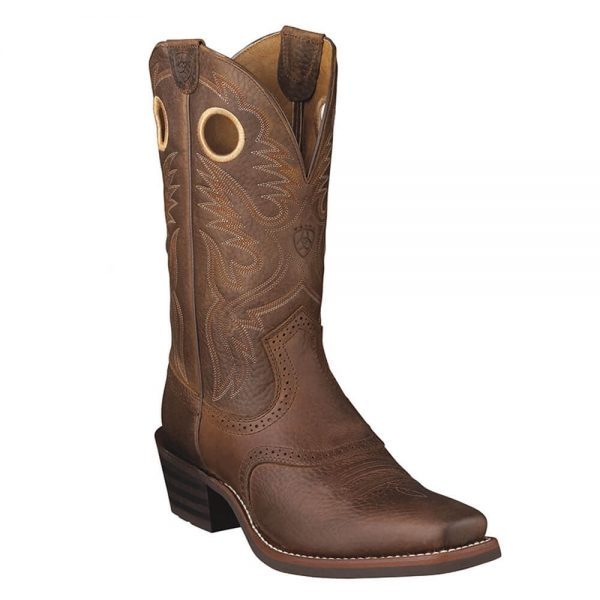 Ariat Mens Cowboy Heritage Roughstock Boots - Brown Oiled Rowdy