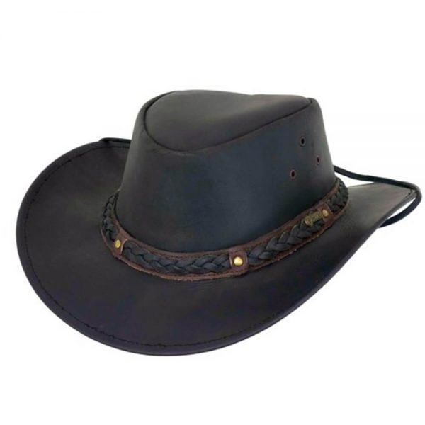 Outback Trading Wagga Wagga Leather Hat - Black