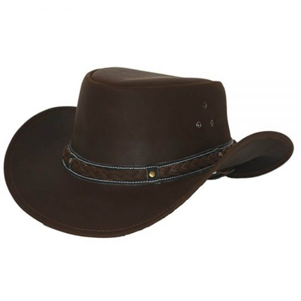 Outback Trading Wagga Wagga Leather Hat - Chocolate