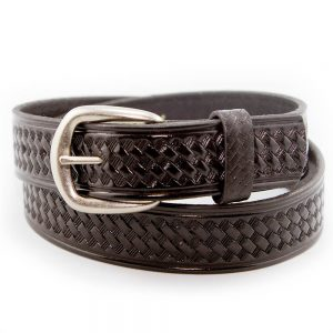 Marc Wolf Leather Belt 204 Basket Weave Black