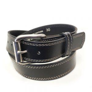 Marc Wolf Leather Belt 222 Stitched Black