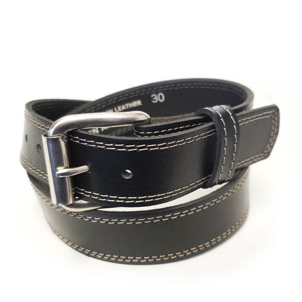 Marc Wolf Leather Belt 222 Stitched Black