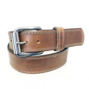 Marc Wolf Leather Belt 222 Tan Stitched