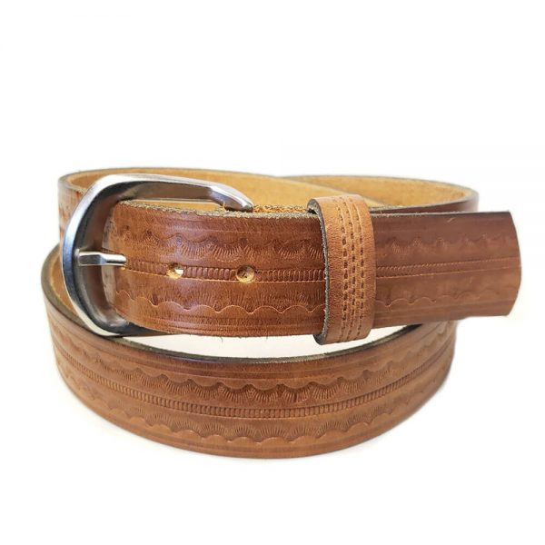 Marc Wolf Leather Belt 226 Tan Embossed