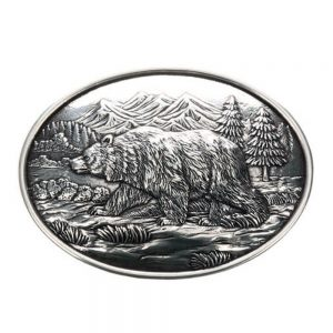 Nocona Western Oval Belt Buckle - Grizzly Bear