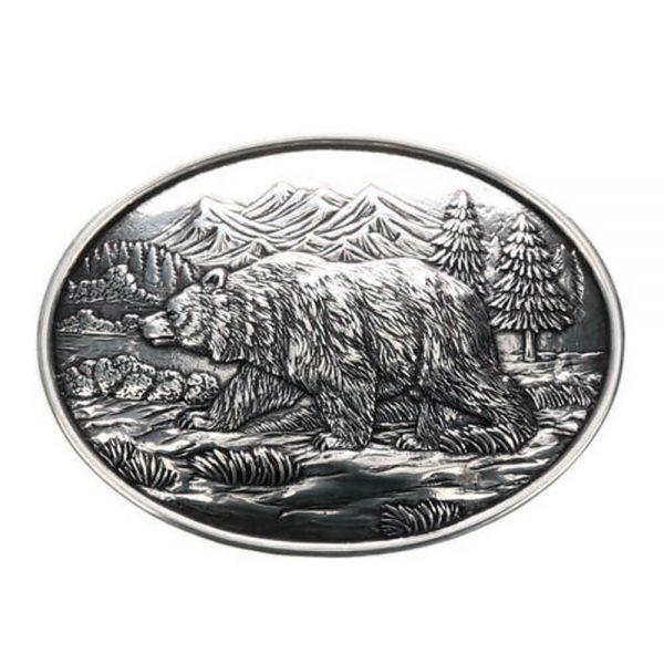 Nocona Western Oval Belt Buckle - Grizzly Bear