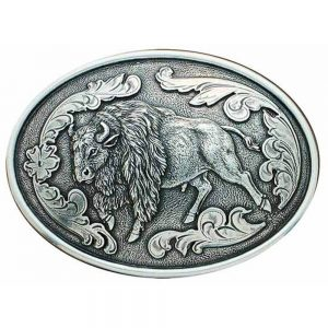 Nocona Western Belt Buckle Oval Buffalo