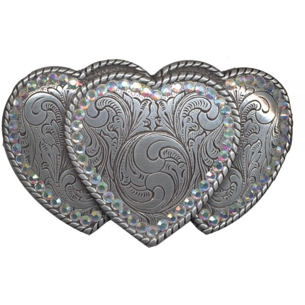 Nocona Belt Buckle - Triple Hearts
