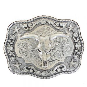 Nocona Western Belt Buckle Rectangle Roped Edge Steer Skull Silver