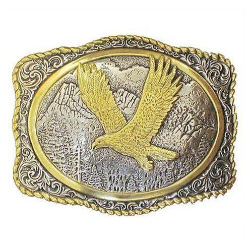 Crumrine Western Belt Buckle Rope Eagle Gold Silver