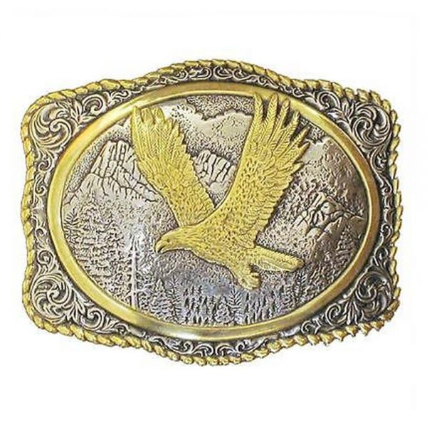 Crumrine Western Belt Buckle Rope Eagle Gold Silver