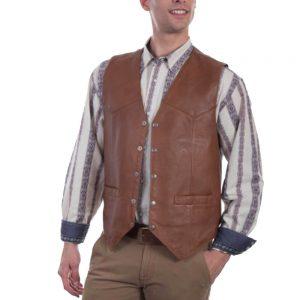 Scully Men's Dark Cognac Smooth Lamb Vest