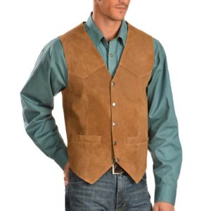 Scully Men's Rustic Tan Suede Snap Front Vest