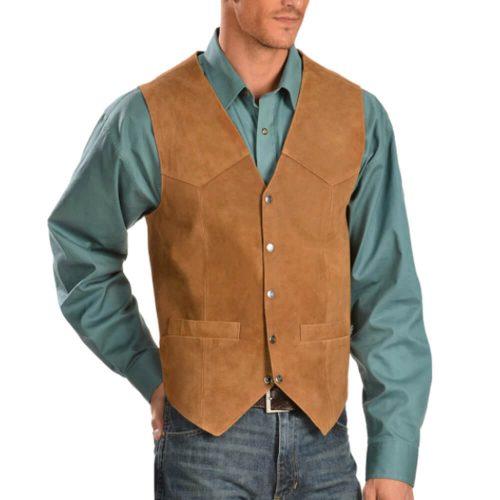 Scully Men's Rustic Tan Suede Snap Front Vest