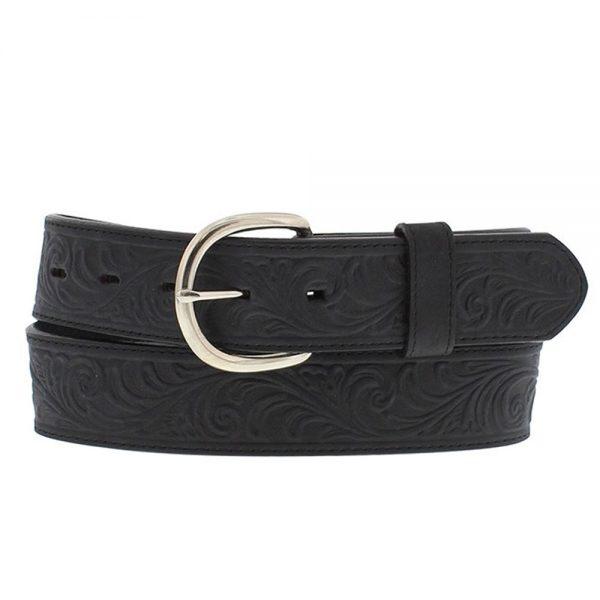 Silver Creek Western Scroll Tooled Belt - Black