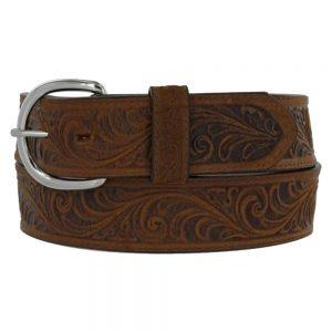 Silver Creek Western Scroll Tooled Belt - Brown