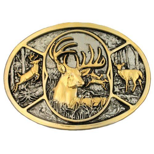 Montana Silversmith Attitude Buckle- Brass Deer