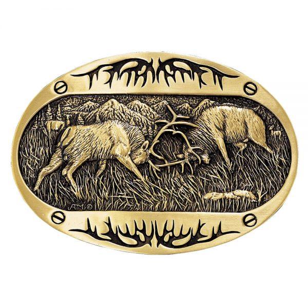 Montana Silversmith Attitude Buckle - Brass Elk