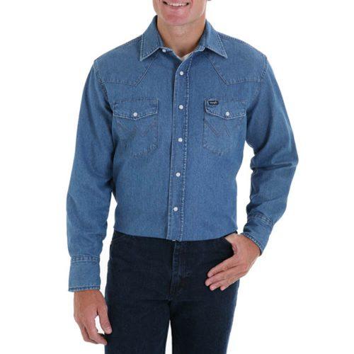 Men's Wrangler Stonewash Denim Western Long Sleeve Shirt