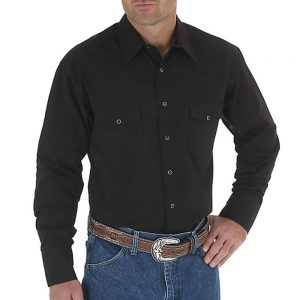 Men's Wrangler Dress Shirt - Black