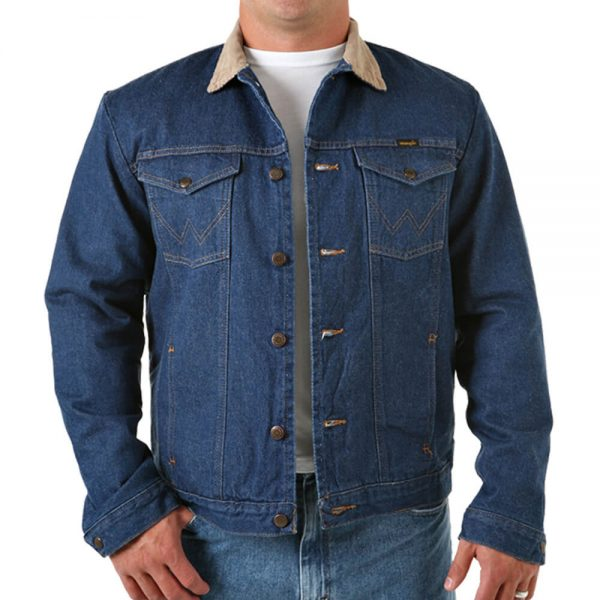 Wrangler Tall Size Blanket Lined Jean Jacket - Blue Denim
