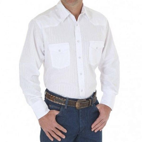 Men's Wrangler Western Snap Long Sleeve Shirt - White