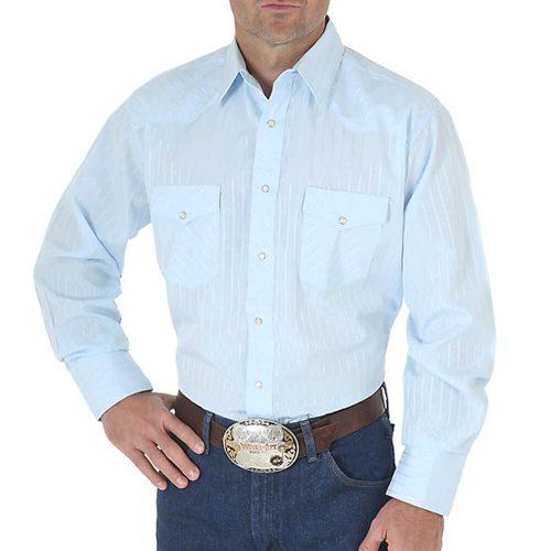 Men's Wrangler Dress Shirt- Blue (Tone on Tone)
