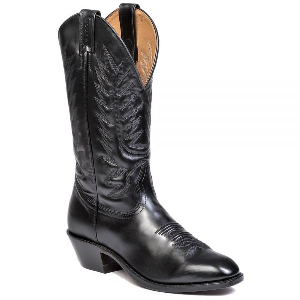 Boulet Mens Western Cowboy Boots with Western Dress Toe - Bello Vitello Black Calf