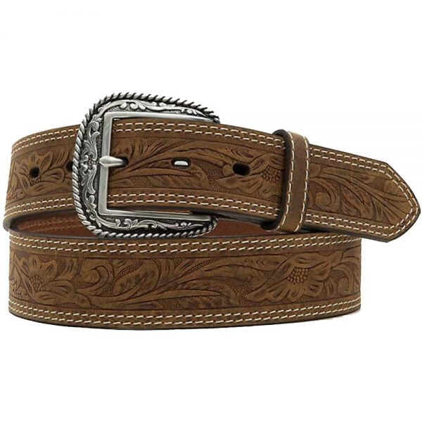 Ariat Brown Tooled Double Stitched Belt