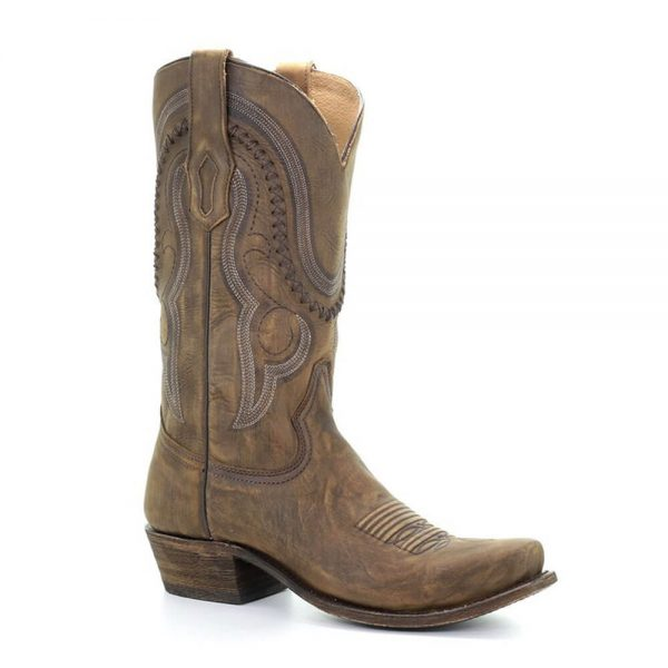 Corral Men's Distressed Brown Narrow Square Toe Cowboy Boots - JEB