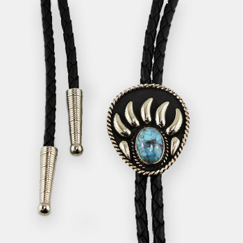 Austin Accent Bolo Tie - Turquoise Stone Bear Claw