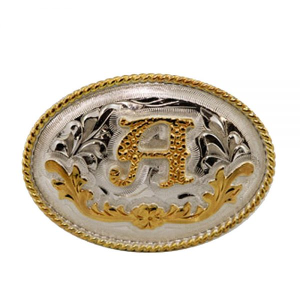 Austin Accent Small Oval Belt Buckle - Initial