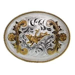 Austin Accent Oval Belt Buckle - Bull Rider