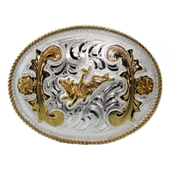 Austin Accent Oval Belt Buckle - Bull Rider
