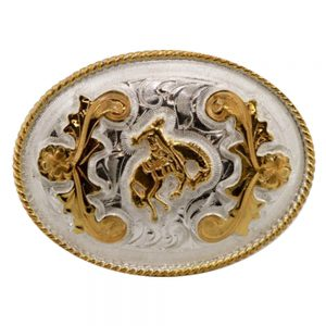 Austin Accent Oval Belt Buckle - Saddle Bronc