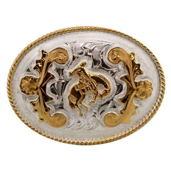 Austin Accent Oval Belt Buckle - Saddle Bronc