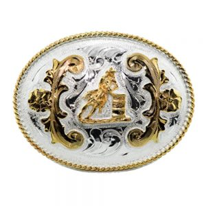Austin Accent Oval Belt Buckle - Barrel Racer