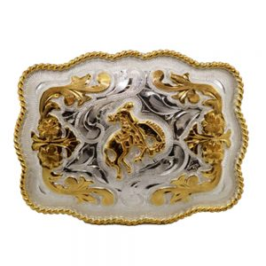 Austin Accent Rectangular Belt Buckle - Saddle Bronc