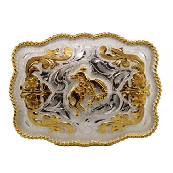 Austin Accent Rectangular Belt Buckle - Saddle Bronc