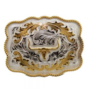 Austin Accent Rectangular Belt Buckle - Longhorn