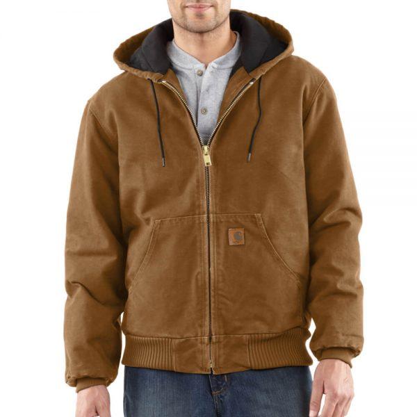 Carhartt Men's Sandstone Duck Active Jacket - Quilted Flannel - Carhartt Brown