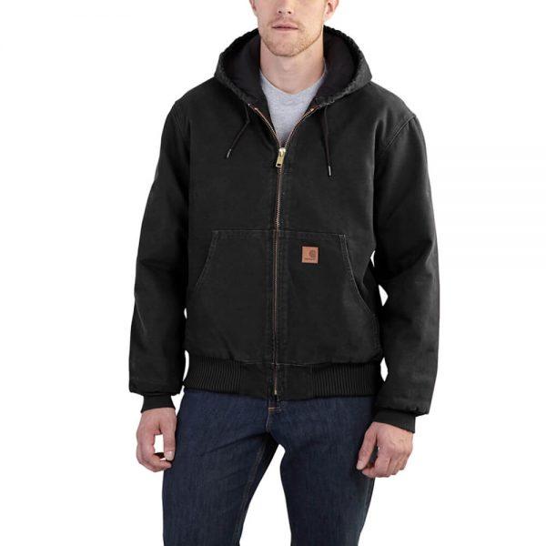 Carhartt Men's Sandstone Duck Active Jacket - Quilted Flannel - Black