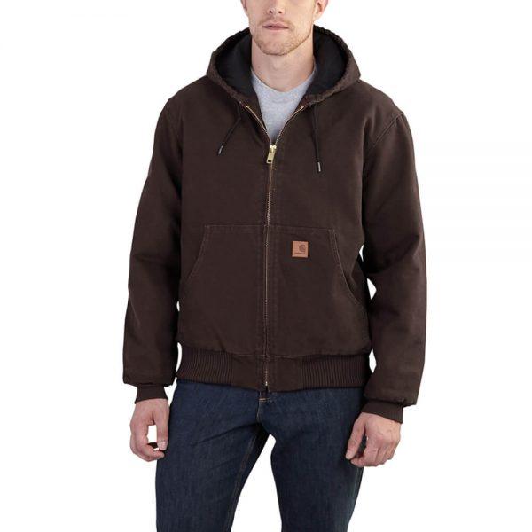 Carhartt Men's Sandstone Duck Active Jacket - Quilted Flannel - Dark Brown