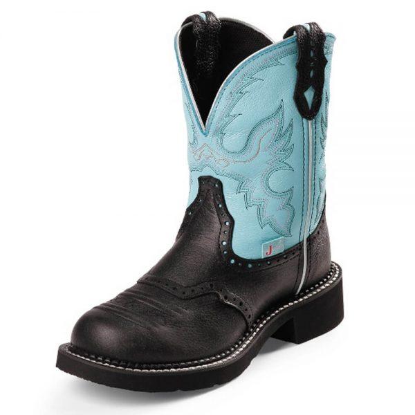 Justin Ladies Gypsy Cowboy Boots - Black Deercow - Aqua