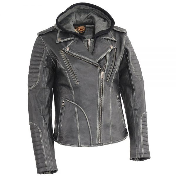 Milwaukee Leather Women's Rub-Off Motorcycle Jacket with Full Hoodie Jacket Liner