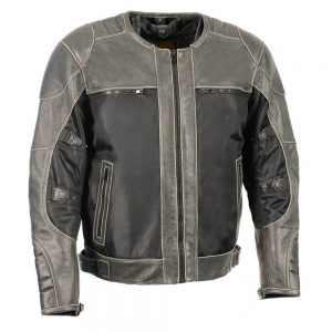 Milwaukee Leather Performance Men's Mesh/Leather Combo Scooter Sports Jacket - Distressed Grey