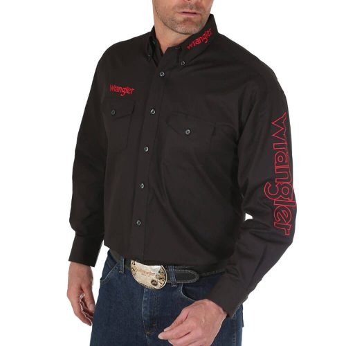 Men's Wrangler® Logo Long Sleeve Button Down Solid Shirt - Black