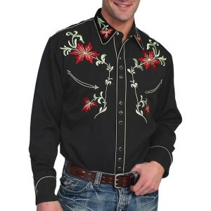 Scully Mens Embroidered Western Shirt Black